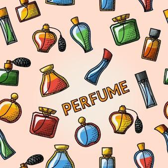 ボトルのさまざまな形で設定された香水手描きアイコンとシームレスな手描きパターン。