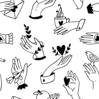 白地にシームレスな手のパターン。