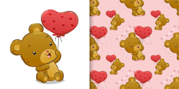 The seamless of happy bear is sitting while holding the love pink balloon of illustration