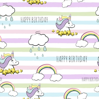 Seamless happy birthday unicorn pattern