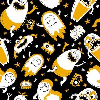 シームレスな幸せなハロウィーンのパターン。面白い漫画のモンスター、幽霊、エイリアン。怖いハロウィンキャラクターデザイン。