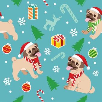 Seamless happy pug dog christmas pattern