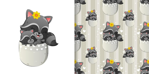 The seamless of happy raccoon is sitting inside the pocket with its baby of illustration