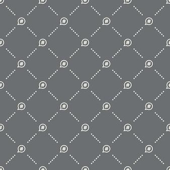 어두운 배경에 원활한 해시 태그 패턴입니다. 해시 태그 아이콘 크리에이 티브 디자인입니다. 벽지, 웹 페이지 배경, 섬유, 인쇄 ui/ux에 사용할 수 있습니다.