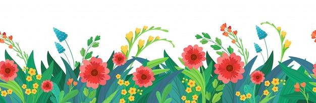 Seamless header of flowers