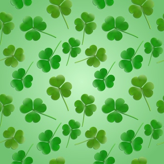 Seamless health bio background with clover leaves