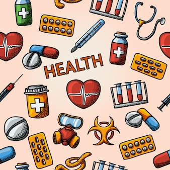 聴診器、心臓、体温計、丸薬、バイオハザードサイン、注射器、試験管、ガスマスクを備えたシームレスな健康手描きパターン。