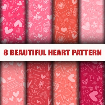 Seamless heart collection pattern set.