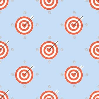 Seamless heart dart board with silver dot glitter pattern on blue background