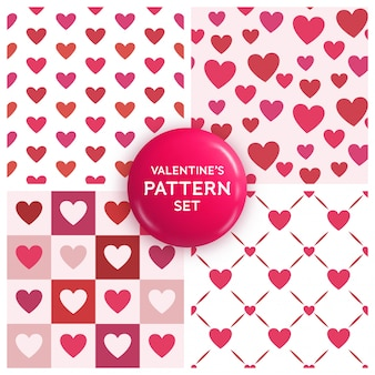 Seamless heart pattern set for valentine's