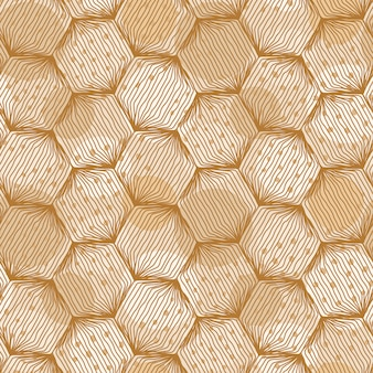 Seamless hexagon pattern  with hand drawn lines and spots