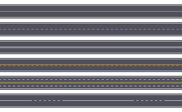 Бесшовное шоссе прямая асфальтовая дорога с желтой и белой разметкой горизонтальная городская улица города