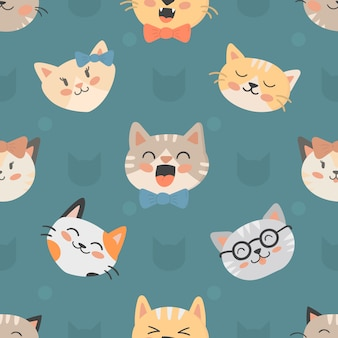 Seamless hipster cats pattern vector illustration.