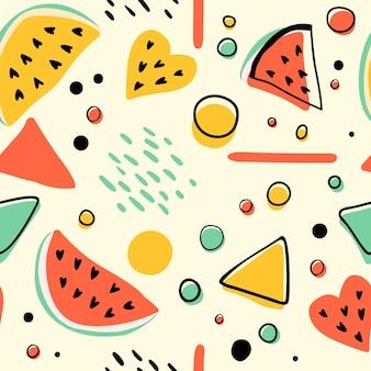 スイカと幾何学模様のシームレスなヒップスターパターン。明るい夏の背景。