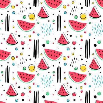 スイカと幾何学的図形とのシームレスな流行に敏感なパターン。夏の包装紙、布、テキスタイルデザイン。黒と白のイラスト。明るい背景。
