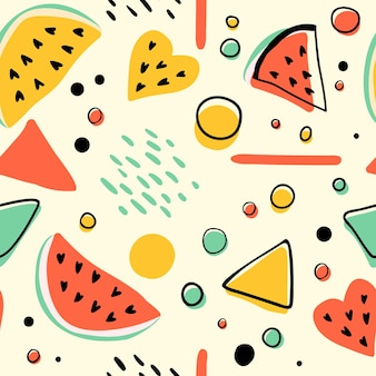 Seamless hipster pattern with watermelons and geometric figures. bright summer background.