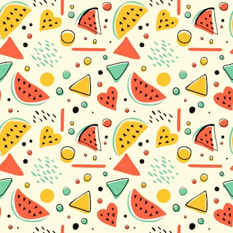 Seamless hipster pattern with watermelons and geometric figures