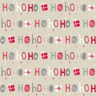 Seamless ho ho ho letter and christmas gift on white background