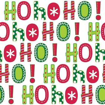 Seamless ho ho ho lettering with red and green color