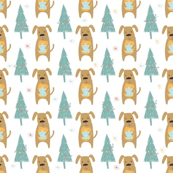 Seamless holiday pattern with dog and presents hand drawn christmas background for greeting card