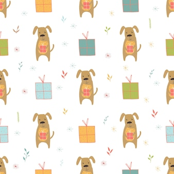 Seamless holiday pattern with dog and presents hand drawn christmas background