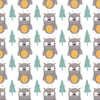 Seamless holiday pattern with forest and owl hand drawn christmas background for greeting card