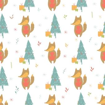 キツネとプレゼントとのシームレスな休日のパターン