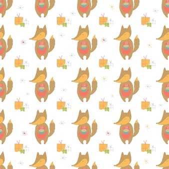 Seamless holiday pattern with fox and presents