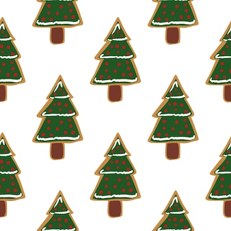 Seamless holiday pattern with green decorative xmas fir tree cookies.