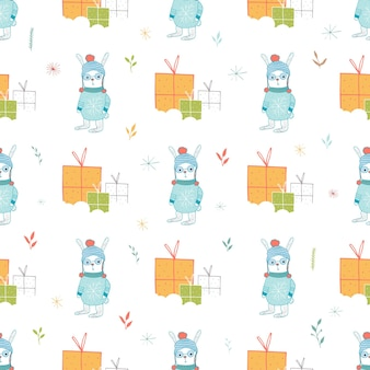 Seamless holiday pattern with hare and presents hand drawn christmas background