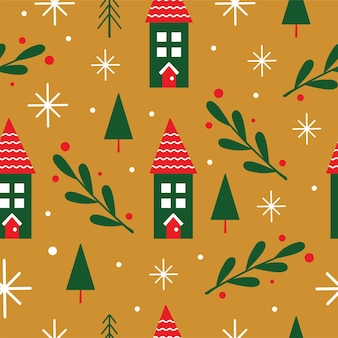 Seamless holiday pattern with houses and branches in vector
