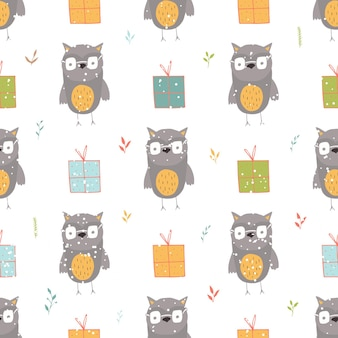 Seamless holiday pattern with owl and presents hand drawn christmas background for greeting card