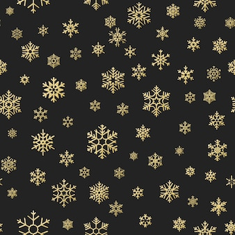 Seamless holiday texture, christmas pattern with gold snowflakes decoration for textiles, brochure, card.
