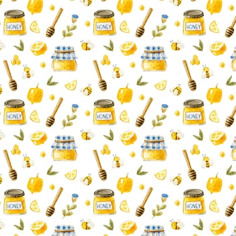 꿀 항아리와 원활한 꿀 패턴 꿀벌 넓어짐 레몬 달콤한 음식 패턴