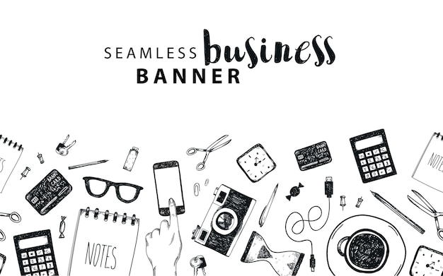 Seamless horizontal banner, business, freelance doodle background, set of isolated objects. office tools, hand drawn, black and white