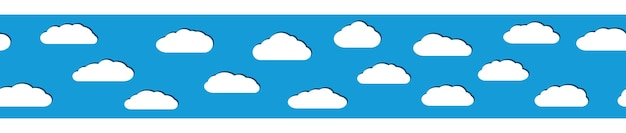 水色の背景にフラットスタイルの影と白い雲のシームレスな水平バナー。