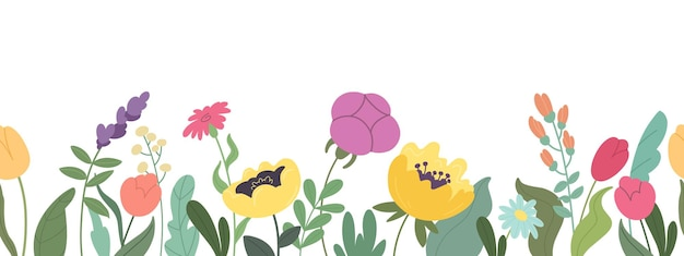 Seamless horizontal banner with beautiful blooming flowers and leaves vector botanical pattern