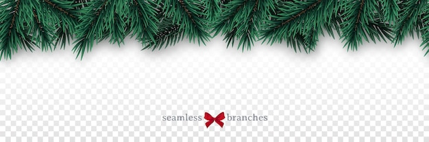 Seamless horizontal border with fir tree branches.