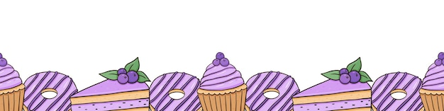 Seamless horizontal border with glazed donuts blueberry cupcakes and cakes with berries
