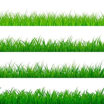 シームレスな水平草ボーダーパターン。草のテクスチャ要素。