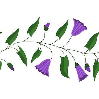 Бесшовные горизонтальный узор, кисть. цветы и листья вьюнка полевого. для подарочной упаковки, ткани и другой полиграфической продукции. векторная иллюстрация