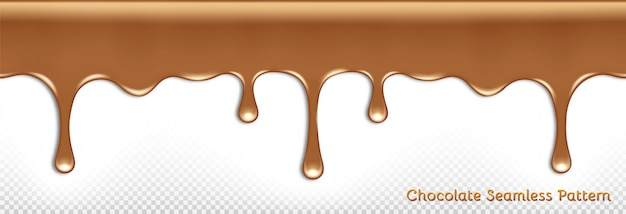 Seamless horizontal pattern of dripping melted milk chocolate