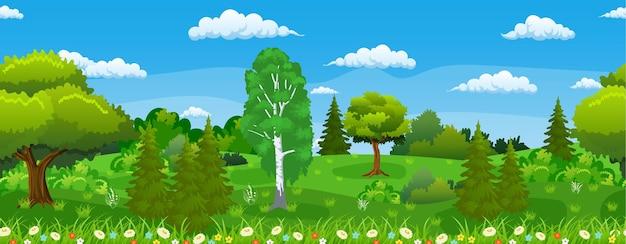 Бесшовные горизонтальный летний или весенний пейзаж