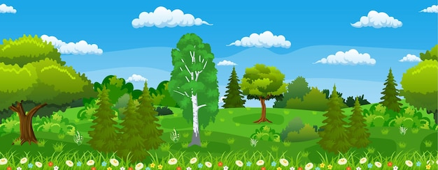Seamless horizontal summer or spring landscape