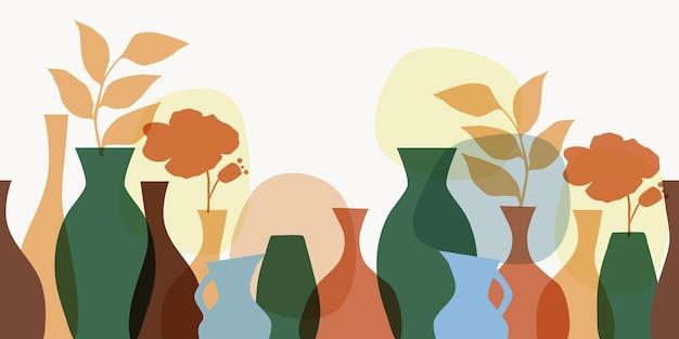 Бесшовный горизонтальный образец вазы с растениями