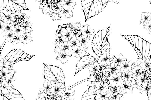シームレスな紫陽花のパターンの背景。
