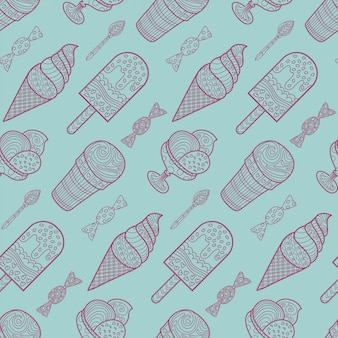 Seamless ice cream and candy background pattern