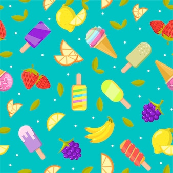 Seamless ice cream pattern. colorful cartoon background with fruit and ice cream
