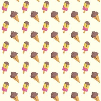 Seamless ice cream summer pattern cute background