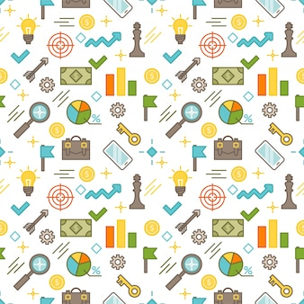 Seamless illustrated business themed line style vector pattern